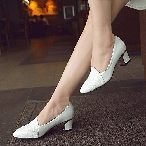 Carrés Blanc Profonde Chaussures Femmes Escarpin Femme Hauts Avec Unie À Bouche Couleur Pour De sandales Peu Classiques Talons chaussures BcUW47qWI