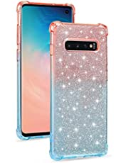 Miagon Soft Glitter Case for Samsung Galaxy S10e,Slim Shockproof 2 in 1 Flexible Silicone Bumper Protective Phone Sparkly Case Cover Girls Women,Pink Blue
