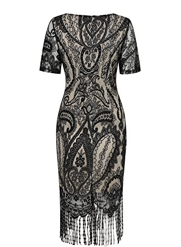 SYLVIEY bodycon Womens Lace Fringed floral Dress 1920s Flapper Vintage Blue crochet RqFRy4rc
