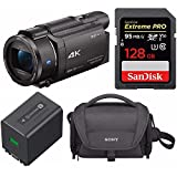 Sony FDR-AX53 UHD 4K Handycam Camcorder w/ 128GB SD Card & Battery Pack Bundle