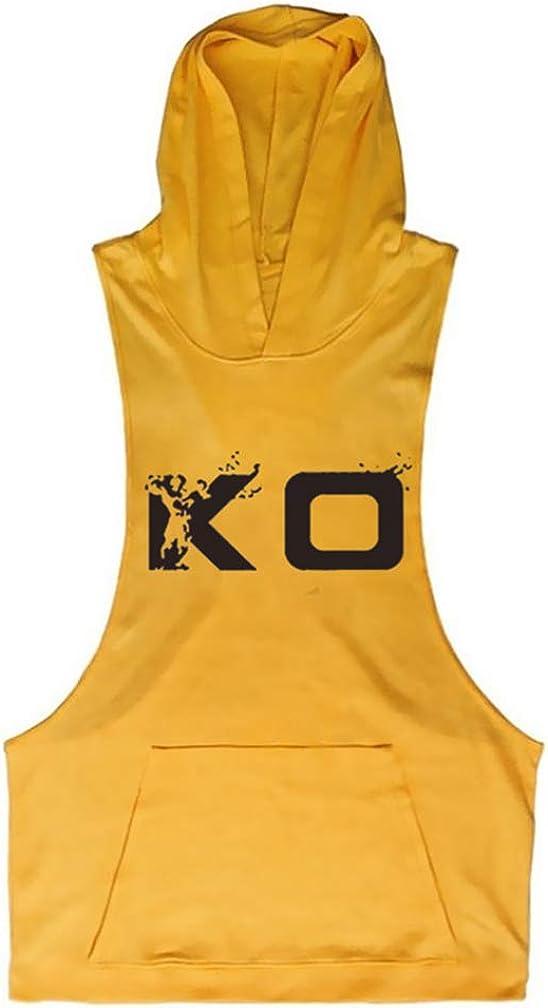 Homme Capuche Imprim/é D/ébardeur de Sport T-Shirt Gilet sans Manche Tank Top Stretch Stringer