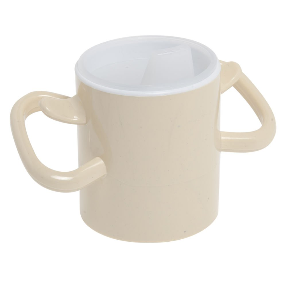 Maddak Ableware 8 Oz Cream Polycarbonate Thumbs Up Cup with Lid - 3 1/2 Dia x 6 7/8 H by Ableware