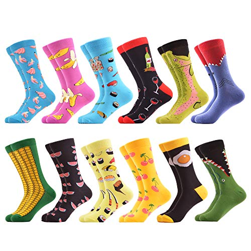 WeciBor Men's Funny Fruit Style Pattern Casual Dress Novelty Combed Cotton Crew Socks 12 Packs