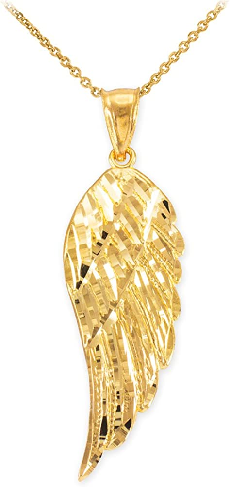 Solid 14k Yellow Gold Textured Angel Wing Charm Pendant Cuban Chain Necklace
