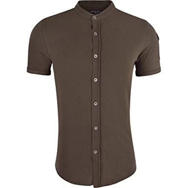 6d24e03bdf6cc4 Brave Soul Mens Grandad Cotton Shirt Collarless Short Sleeve Smart Casual  Shirts: Amazon.co.uk: Clothing