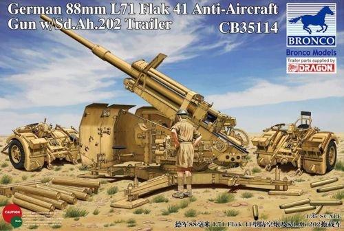 88mm Gun Flak - Bronco German 88mm L71 Flak 41 Anti-Aircraft Gun with Sd.Ah.202 Trailer 1:35 Scale Military Model Kit