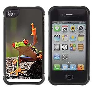 "Pulsar iFace Series Tpu silicona Carcasa Funda Case para Apple iPhone 4 / iPhone 4S , Fresco de la rana verde de la selva de la criatura"""