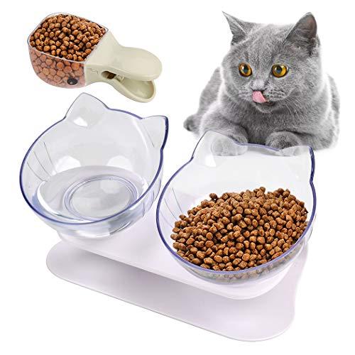 Joyibay Futternäpfe Katzenfutter, Doppelter Futternapf Katzen Rutschfeste Katzen Schüssel mit Angehobenem Ständer 15…
