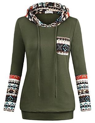 SUNGLORY Women's Colorblock Geometric Sweatshirts Raglan Hoodies with Pockets Pullover Tops