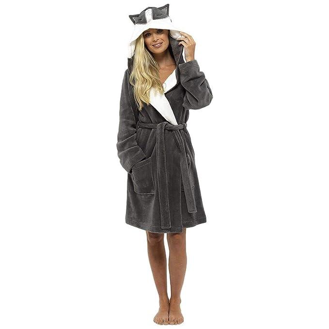 Womens Luxury Foxbury Fleece Novelty Dressing Gown Penguin Racoon Deer   Amazon.co.uk  Clothing 683f9b4c7