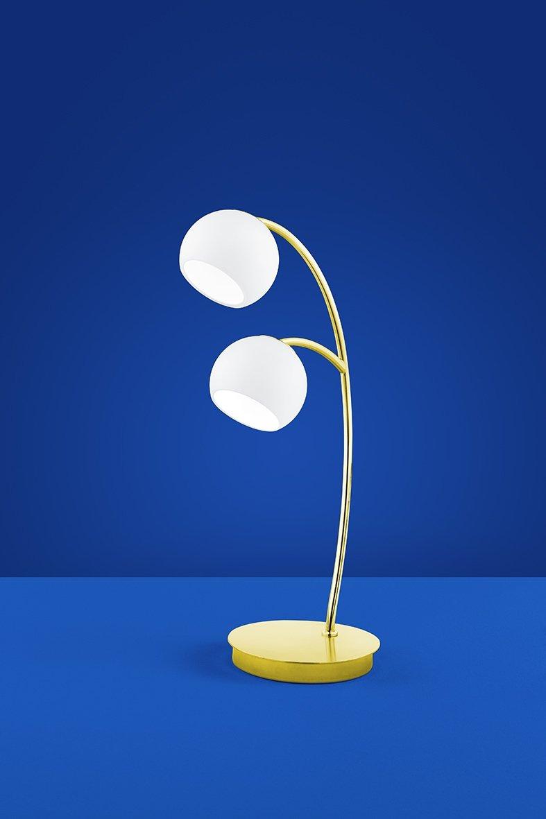 Deutsche LED Tischleuchte 2 flammig Messing Glas Schalter 950 Lumen B-LEUCHTEN