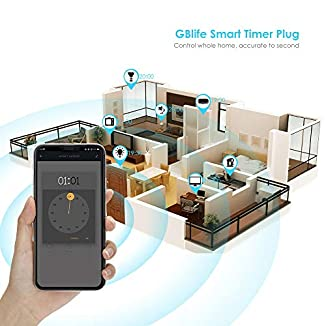 2 PACK Enchufe Inteligente WIFI de GBlife, Control Remoto Mando de Voz Compatible con Amazon Alexa/Google Home/IFTTT, NO Compatible con HomeKit, Contactar con Vendedor por Manual en Español