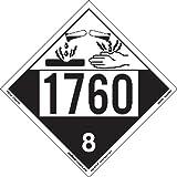 Labelmaster ZEZ41760 UN 1760 Corrosive Hazmat Placard, E-Z Removable Vinyl (Pack of 25)