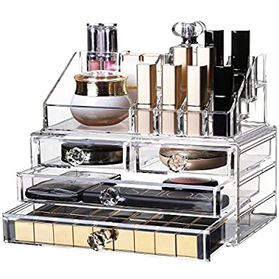 YOLER Makeup Organizer Acrylic Cosmetic Organizer Jewelry Storage Counter Storage Display Case, 2 Pieces Set: 4 Drawers with top Section (Classical) - Dimensions: 9.4''L x 6.1''W x 7.4''H Practical Organizer Design --- 2 pieces set: 4 drawers with top section High Cost Raw Material --- Most premium Polystyrene available in the market - organizers, bathroom-accessories, bathroom - 51ML14ruvpL. SS400  -