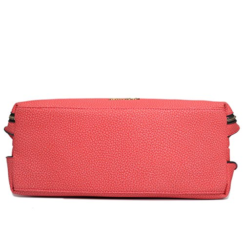 Leather Textured Look Red Miss Shoulder Tassel Lulu Hobo Bag ztqHxw57p