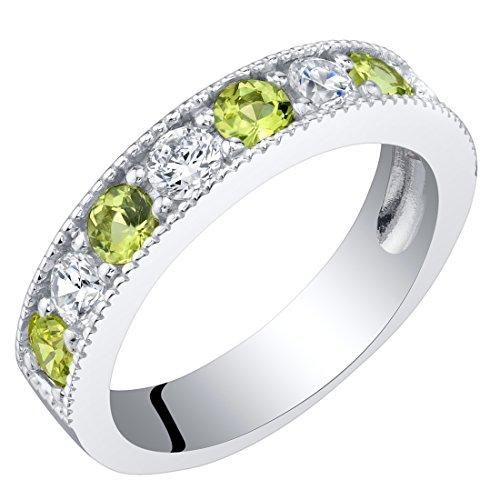 Sterling Silver Peridot Milgrain Half Eternity Ring Band Size 7