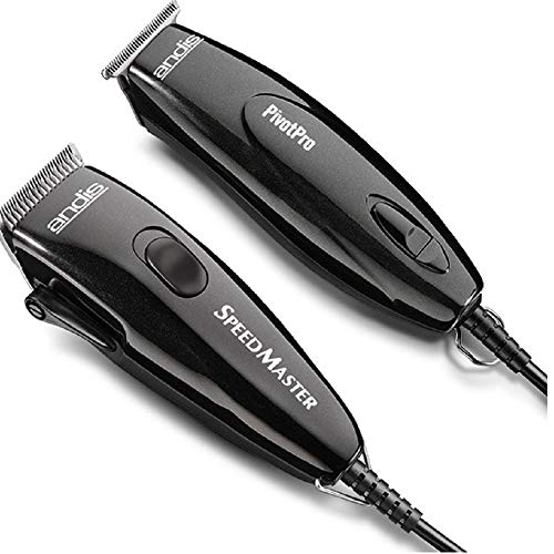 Andis Pivot Motor Adjustable Blade Clipper/Trimmer Hair Cutting Combo Kit, Black -