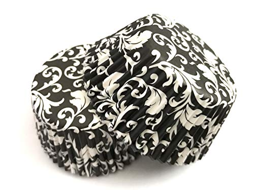 50 pcs Damask Black White Floral Flower Liners Cupcake Liners Liner for Standard Size Cupcakes (Black, White) ()