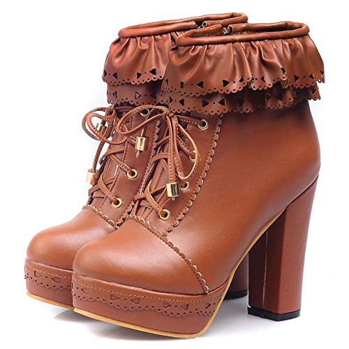 Femmes Brown Bottines Lacets Talon Plateforme Haut Taoffen Dark SwZn1PTTq