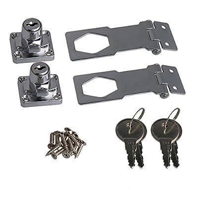RDEXP 2.5 Inch Length Silver Zinc Alloy Keyed Hasp Lock Twist Knob Keyed Locking Hasp with Screws for Doors Cabinet Set of 2