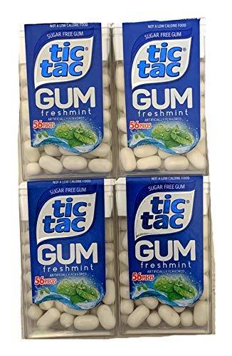 Tic Tac Freshmint Gum | Tic Tac Sugarfree Gum 56 Piece Box | Pack of 4 ()