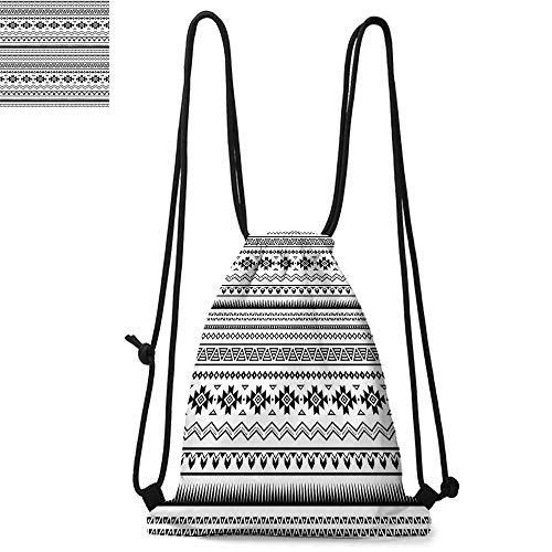 Native American Durable Drawstring Backpack Aztec American Folkloric Art Borders Ancient Tribal South America CultureSuitable for carrying around W17.3 x L13.4 Inch Black White ()