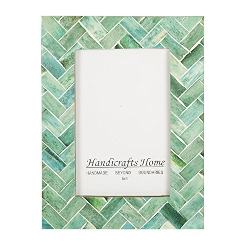Handicrafts Home 4x6 Nature's Green Bone Picture Frames Chic Photo Frame Handmade Vintage from ()