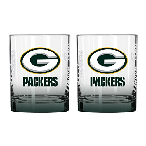 NFL Green Bay Packers Elite Rock Glass, 14-ounce, - Packers Bay Rocks Green Glass