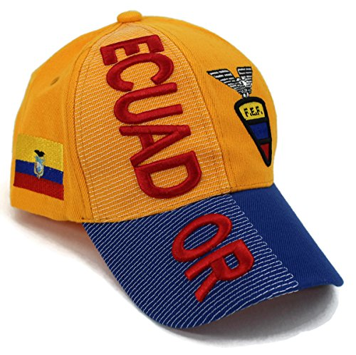 - High End Hats Nations of South America Hat Collection Embroidered Adjustable Baseball Cap, Ecuador with FEF Logo, Yellow