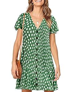 Imysty Womens Polka Dot V Neck Button Down Ruffles Loose Mini Short T-Shirt Dress (Medium, Z-Army Green)