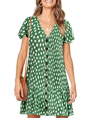 (Imysty Womens Polka Dot V Neck Button Down Ruffles Loose Mini Short T-Shirt Dress (Large, Z-Army Green))