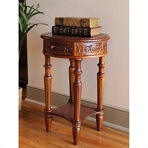 Hand Carved End Table (Hand Carved Wood 2-Tier End)