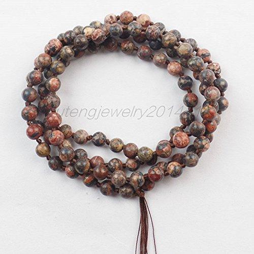 Gemstone Jasper Skin Leopard (leopard skin jasper - 6mm Tibet Buddhist 108 Mixed Gemstone Prayer Bead Mala Necklace Bracelet XLZ-756)