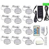 Xking White 6000K12 Pcs Dimmable Puck Lights LED Under Cabinet Lighting Kit, DC12V Total 24W