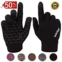 Achiou Winter Warm Touchscreen Gloves for Women Men Knit Wool Lined Texting