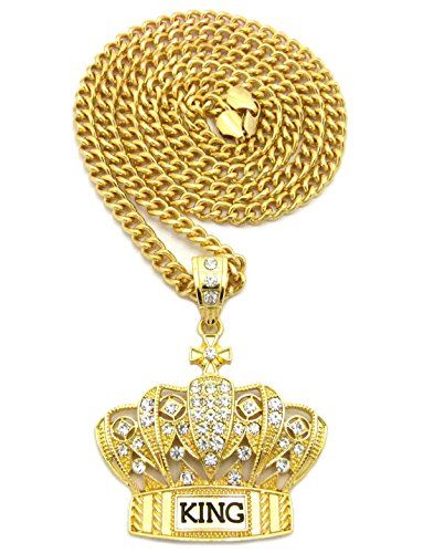 Hip Hop Iced Out King Crown Pendant 36
