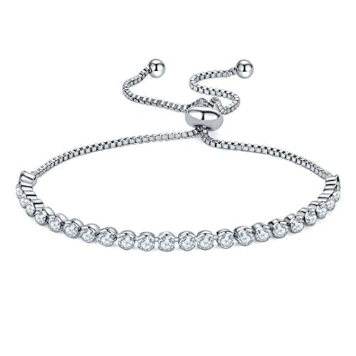fce8ec376c904 Capital Charms Silver Plated Tennis Slider Bracelet for Girls and ...