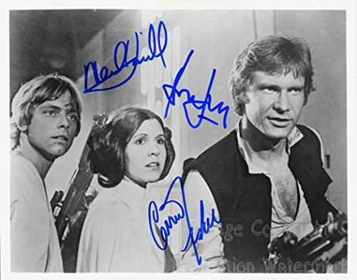 Star Wars Carrie Fisher Mark Hamill Harrison Ford Signed Autographed 11x14 Inch Photo Print