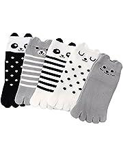 TESOON Cartoon Pattern Cotton Toe Socks Kids-Children 3 Pairs