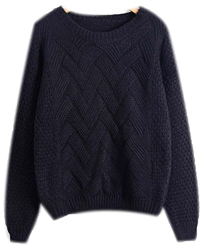 Rond Automne Longues Pull Jumper Femme Mohair Noir Tops Sweater Grosse Loose Chandail Haut Feminin Hiver Pullover Chaud Maille Tricots nBIaqxB