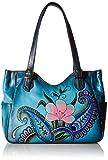 Anuschka Anna by Handpainted Leather Medium Shoulder Bag, Denim Paisley Floral