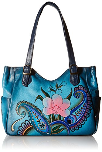 (Anna by Anuschka Shoulder Bag | Genuine Leather | Denim Paisley Floral)