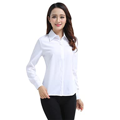 e91f6153d95f3 Henghzi Women s Office Slim White Shirt Blouse Long Sleeve Formal Button  Top Office Blouses Women at Amazon Women s Clothing store