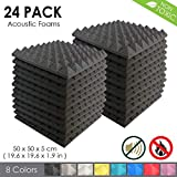 Arrowzoom New 24 Pack of Pyramid Acoustic Foam Studio Absorbing Tiles Pads Wall Panels