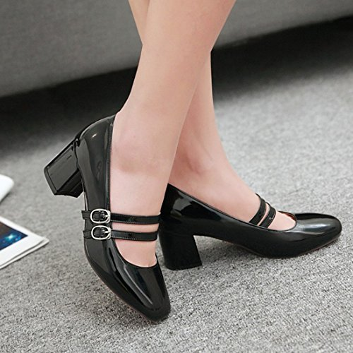 YE Damen Lackleder Mary Jane Riemchen Geschlossen Pumps mit Blockabsatz und Schnalle 5cm Absatz Elegant Bequem Schuhe Schwarz