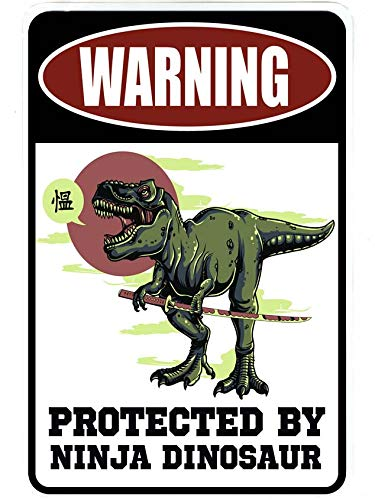 Advertencia protegido por Ninja Dinosaur - Funny metal sign ...