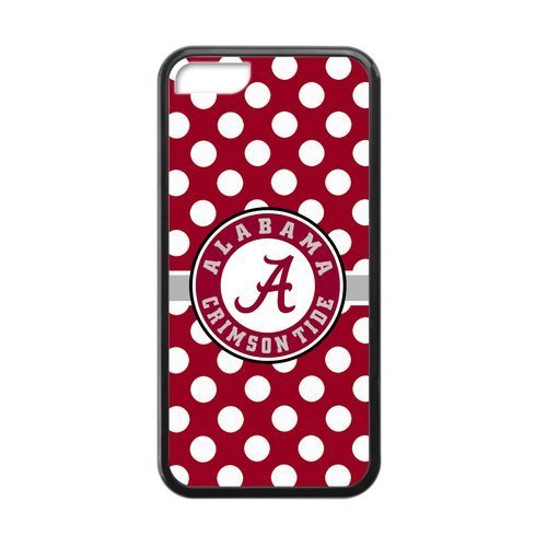 Generic Custom Extraordinary Best Design NCAA University of Alabama Crimson Tide Team Symbol Plastic and TPU Black and White Case Cover for iPhone5C (Have A Nice Day At Work Text)