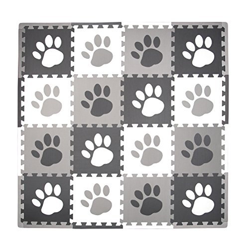 Tadpoles Soft Foam Playmat 16 Piece Set Pawprint, Grey, One-Size