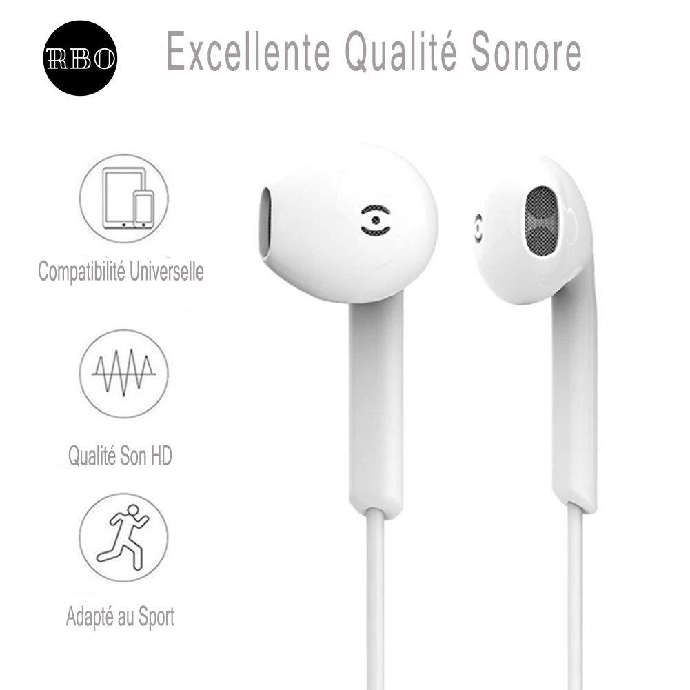 iPod Kit Pi/éton Muni dun Micro et Contr/ôle de Volume T/él/éphones Android Samsung iPad pour iPhone Ecouteurs Intra-Auriculaires Filaires par RBO 2 Pack