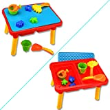 Kids Summer Sand and Water Table with Beach Play Set Sand Table toys for toddlers Colorful 10 pieces Wishtime